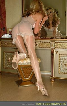 Transparent stockings and lingerie