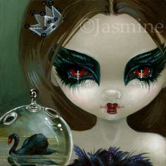 Faces of Faery 201 fairy face art print by Jasmine Becket-Griffith 6x6 black swan ballet big eye