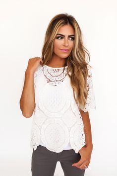 Ivory Crochet Top - Dottie Couture Boutique