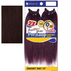 "Freetress Pre-Loop Crochet Yaky 10"" - Color 99J - Synthetic Braiding"