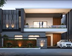Sharma on Behance Modern Exterior House Designs, Best Modern House Design, Modern Fence Design, Modern House Facades, Modern Villa Design, Minimalist House Design, Modern House Plans, 3 Storey House Design, Duplex House Design