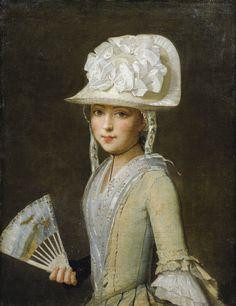 Ecole Provençale du XVIIIe siècle Portrait de jeune fille tenant un eventail. Provencal school 18th centuryt: Portrait of a Young Lady with a Fan. Oil on Canvas. Love that hat!