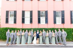 Mint/Sage Bridesmaid Dresses, Groomsmen in Gray, Groom in Navy, Golden Retriever wearing a Floral Wreath | Pastel Mint, Coral, Blush + Gold Patriots Point Pavilion Wedding by Charleston wedding photographer Dana Cubbage Weddings