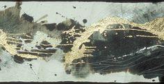 """Lucy Arai - 2004.11, 27""""x 91"""", Washi, sumi ink, indigo, gold, thread"""
