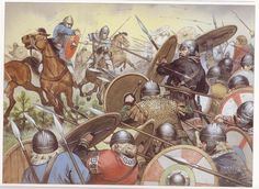 "The Battle of Chalons by Angus McBride, pits the army of Attila, which comprised of Huns, Ostrogoths & Gepids, against the forces of Theodoric and his ""Roman"" army of Visigoths, Franks, Alans & Burgundians. Basically two armies made up of Germanic tribes."