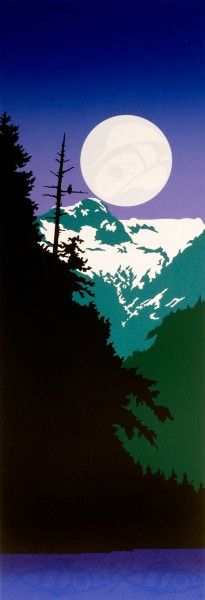 'Mountain Eagle' by Roy Henry Vickers. Cedar Snags, snowcapped mountains, a full moon and salmon on the barbeque all comprise the essence of a westcoast summer evening. Native American Artists, Canadian Artists, Indigenous Art, Indigenous Education, Haida Art, Aboriginal Artists, Wildlife Paintings, Native Art, Canada