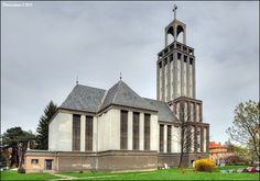 Filial Church of St. Hedwig (Kostel svaté Hedviky), administered by Roman Catholic parish of Virgin Mary in Opava, is thanks to its unusual modern architecture with cubistic features one of the most original churches in the region. #Church