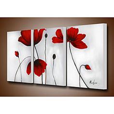 Create a beautiful conversation piece with this canvas art set. The hand-painted 'Flowers' set is gallery wrapped and stretched for a complete and professional look.