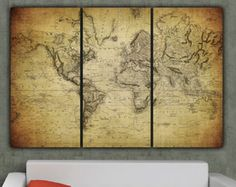 World Map Art on Canvas Vintage Map set for home by HolyCowCanvas