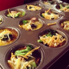 Mini omelets! Egg whites, eggs, broccoli, mushrooms, cheese, salt, and ...