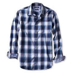 Banana Republic Mens Camden Fit Custom 078 Wash Open Plaid Shirt ($65) ❤ liked on Polyvore featuring men's fashion, men's clothing, men's shirts, men's casual shirts, men and marina blue