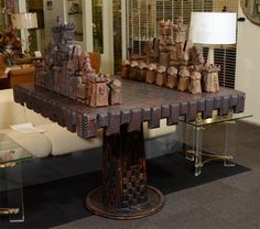 Vintage Monumental Carved Wood Game Table and Chess Pieces   nyshowplace.com