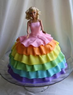 (How to Make a) Rainbow Birthday Cake: Pretty Rainbow Barbie Cake ~ Cake Inspiration