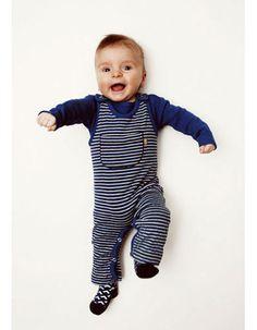Blauw gestreept Oliver salopetje voor baby - Kidscase - Pepatino.be