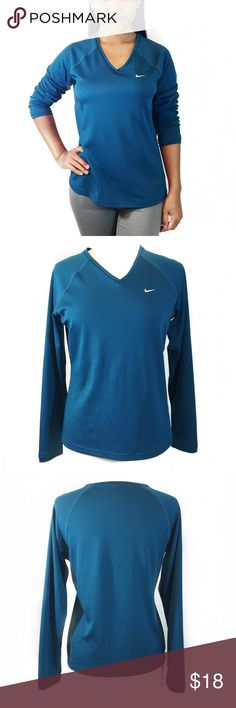 WOMEN's NIKE TEAL BLUE ATHLETIC LONG SLEEVE TOP 100% Polyester; A minor super small unnoticeable snag on the front left bottom (see last picture). You can remove it with fuzz remover I believe. Other condition is great. Almost looks like new. Fits true to size. Nike Tops Tees - Long Sleeve
