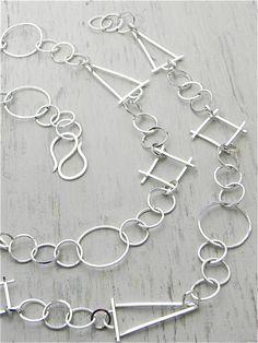 One of a Kind Sterling Silver Geo Links Chain handmade by Wild Prairie Silver Jewelry Metalsmith Joy Kruse