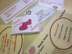 knock knock joke valentines to put everywhere for kids to stumble upon-- lunchboxes, tennis shoes, pillow, placemat, piano bench, around a toothbrush, coat pocket, etc.!