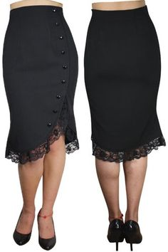 Black Pencil Skirt with Lace Frill   Ladies Gothic Clothing