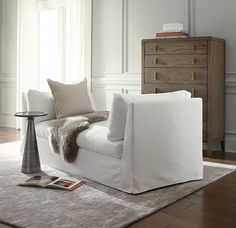 // MG+BW // Our Franco Slipcover lounge is perfect for city or town interiors.