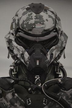 Pilot-Operator - by Vitaly Bulgarov Special Forces Gear, Military Special Forces, Military Love, Military Gear, Futuristic Helmet, Futuristic Armour, Robot Concept Art, Armor Concept, Taktischer Helm