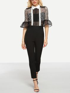 Shop Hollow Out Lace 2 in 1 Jumpsuit - Black online. SheIn offers Hollow Out…
