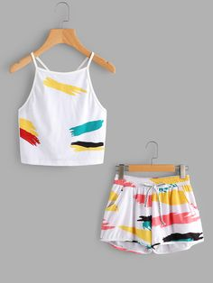 Shop Rainbow Graffiti Print Cami Top With Drawstring Shorts online. SheIn offers Rainbow Graffiti Print Cami Top With Drawstring Shorts & more to fit your fashionable needs.
