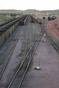 BNSF yard at Guernsey WY - Sept. 5, 2013. Looking west from the US 26 bridge.