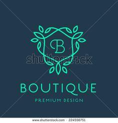 Simple and graceful floral monogram design template, Elegant lineart logo…