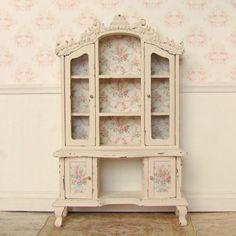 Dollhouse Miniature   Cream Distressed Rose   Dresser Hutch   Display Cabinet Furniture   Shabby Chic   12th Scale