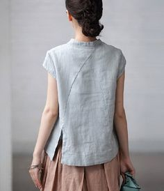 Slanting Collar Linen Shirt by zeniche on Etsy