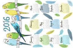 Originally entered in the 2015 Tea Towel Calendar contest, I have updated the dates for 2016.  Designed to fit on a fat quarter of Linen Cotton Canvas (or any fabric with fat quarter measuring 27 x 18 inches).  Design by Hazel Fisher  See more of my budgie themed collection of designs here: http://www.spoonflower.com/collections/67096