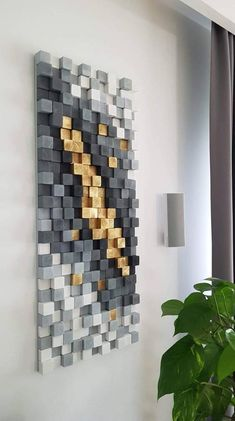 - Gold mine wood wall art sculpture wooden art geometric wall art wood mosaic - Sculpture - Print the sulpture yourself - Wall sculpture made out of spruce or pine tree pieces each one cuted sanded painted and glued to the mounting board. The piece on the