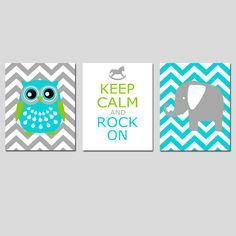 Modern Nursery Trio - Set of Three 8x10 Prints - Chevron Owl, Keep Calm and Rock On, Chevron Elephant - Aqua, Gray, Apple Green, and More. $55.00, via Etsy.