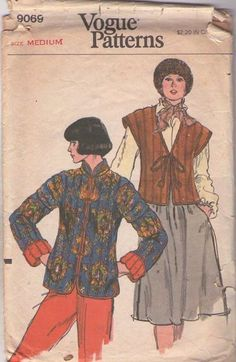 MOMSPatterns Vintage Sewing Patterns - Vogue 9069 Vintage 70's Sewing Pattern MUST HAVE Asian Inspired Quilted Cap Sleeve Vest, Tassels & Nehru Collar Jacket, Frog Toggle Coat Size M