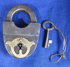 Very RARE Russian XIX PCHIOLKIN Padlock Lock + Key / Working Primitive Marked   eBay!