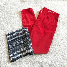 GAP red corduroy legging jeans Amazing bright red color. Soft corduroy material skinny legging jeans. Stretchy for the perfect fit. About 28 inch inseam. GAP Pants Skinny