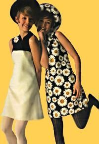 McCalls 1968 McCall's Pattern 9230 Left - split-level dress of petal white and black, divided high with a crisp flare of Moygashel linen. Right - Daisy print for another version of the same skimmer. Polished cotton and Avril rayon by Concord.: