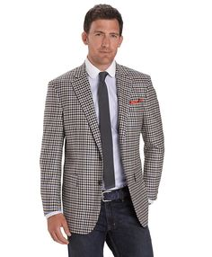 Madison Fit Two-Button Block Check Sport Coat