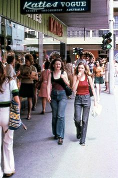 Can barely see it, but that outfit on the left Seventies Fashion, 70s Fashion, Vintage Fashion, Places In Melbourne, Melbourne Suburbs, Vogue Australia, South Australia, Feelin Groovy, As Time Goes By