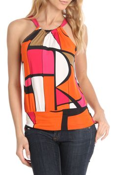 24/7 FRENZY Geometric Print Halter Top in Magenta and Orange