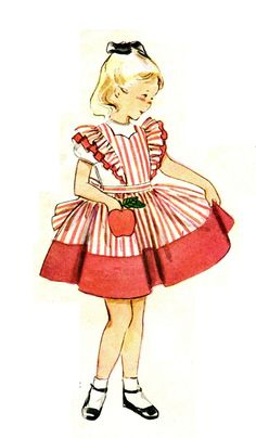 Simplicity 4136 UNCUT and Factory Folded Vintage 1950s Apple Pocket & Pinafore Apron Dress With Applique Transfer Sewing Pattern Size 6 B24. $16.00, via Etsy.