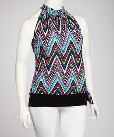 Loving this Pink & Turquoise Zigzag Yoke Top
