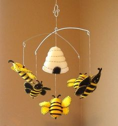 Bumble Bee and Beehive Felt Mobile  Would be cute in our Winnie the Pooh Nursery