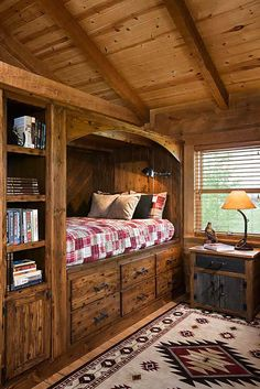 perfect guest room; tucked away bed to allow for the most floor space