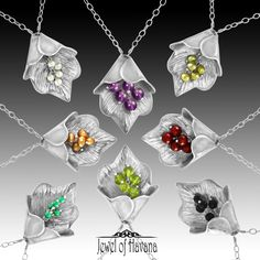 GIFT IDEA #4: Leaf Bell Necklace Come see them in person this Saturday at the Baton Rouge Arts Market! Downtown Baton Rouge at 5th & Main - (In case of rain in the adjacent Galvez Parking Garage at 504 Main Street with free covered parking and dry shopping!) These sterling silver necklaces have clip on gemstones. Recently redesigned, one leaf can be worn with all these stones. Grab one color or collect them all! The leaf slides easily up the chain for easy access to change out...