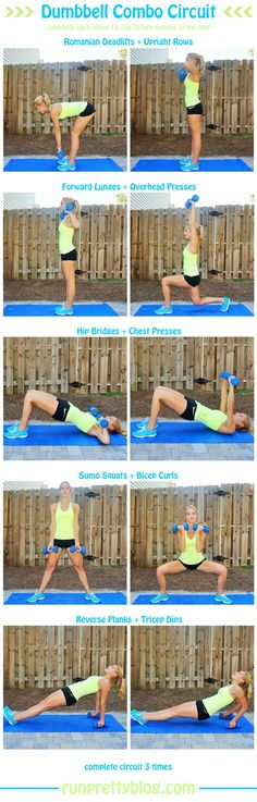 Dumbbell Circuit Workouts http://www.sweettoothsweetlife.com/2015/06/18/what-my-workouts-have-been-looking-like/?utm_content=bufferf9032&utm_medium=social&utm_source=pinterest.com&utm_campaign=buffer