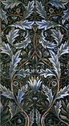 Membland was the only floral panel design produced on such a large scale. W.Morris designed it on commission to decorate Membland Hall in Devon by architect George Devey. Six of an unknown number of panels survive. Each panel consists of 66 tiles (60 six-inch tiles, and 6 3x6 inch tiles) and stands 5 ft. 3 inches tall and 3 feet wide. The panel was intended for the bathroom at Membland Hall.  The panels were produced by William De Morgan. The first set was hand painted on on earthware…