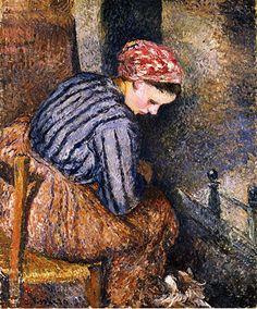 Peasant Woman Warming Herself, Camille Pissarro. French Impressionist, Pointillist Painter (1830-1903)