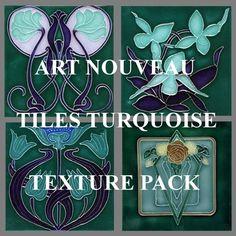 ART NOUVEAU tiles turquoise - texture pack