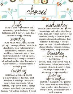 Daily chore list | Stuff I wanna remember! | Pinterest | Daily ...